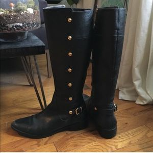 Michael Kors Carney riding boot Black with gold